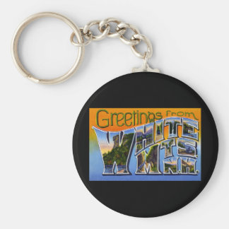 Greetings from White Mountains New Hampshire Basic Round Button Keychain