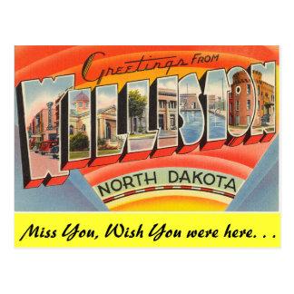 Greetings from Williston Postcard
