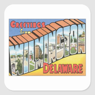 Greetings From Wilmington Delaware Square Sticker