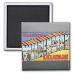 Greetings From Wilmington Delaware, Vintage 2 Inch Square Magnet