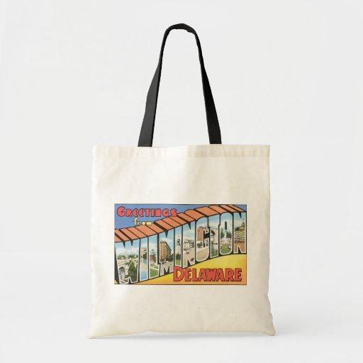 Greetings From Wilmington Delaware, Vintage Budget Tote Bag