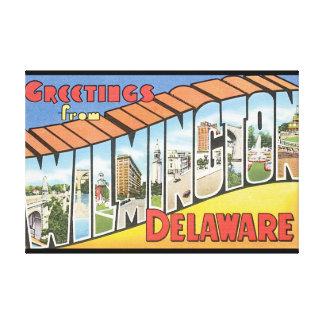 Greetings from Wilmington Delaware_Vintage Travel Canvas Print