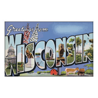 Greetings From Wisconsin, Vintage Poster