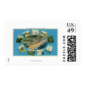 Greetings From with Scenic ViewsSanta Cruz, CA Postage Stamps