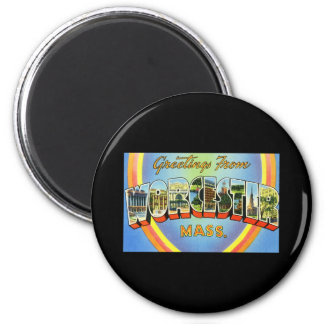 Greetings from Worcester Massachusetts 2 Inch Round Magnet