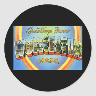 Greetings from Worcester Massachusetts Classic Round Sticker