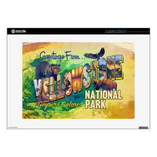 Greetings from Yellowstone National Park Decal For Laptop