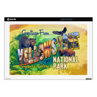 "Greetings from Yellowstone National Park Decals For 17"" Laptops"