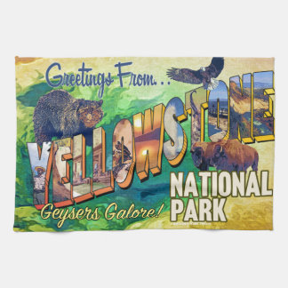 Greetings from Yellowstone National Park Hand Towels
