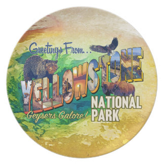 Greetings from Yellowstone National Park Plate