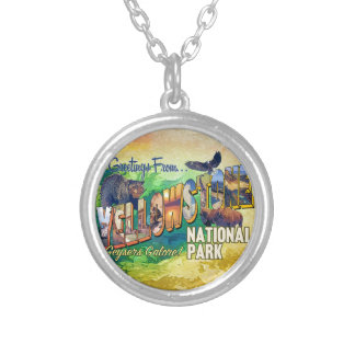 Greetings from Yellowstone National Park Silver Plated Necklace