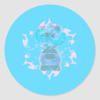 Greetings | Happy Holidays From a Cute Alien Classic Round Sticker