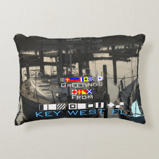 Greetings Key West FL Nautical Flags personalized Accent Pillow