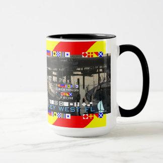 Greetings Key West FL Nautical Flags personalized Mug