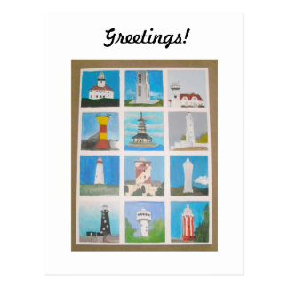 Greetings Lighthouses Around the World Postcard