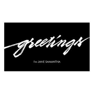 Greetings! Minimalist Black & White Business Card