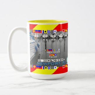 Greetings Newport RI Marine Flags personalized Two-Tone Coffee Mug