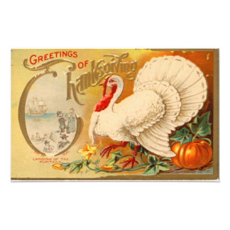 Greetings of Thanksgiving White Turkey Vintage Photograph