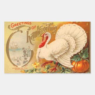 Greetings of Thanksgiving White Turkey Vintage Rectangle Sticker