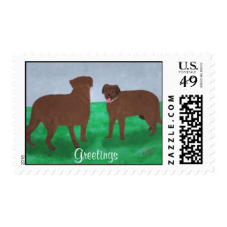 Greetings postage stamp with two brown dogs