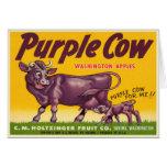 Greetings with Vintage Purple Cow Apples Print Card