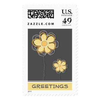 GreetingsTrendy Floral Postage Stamp