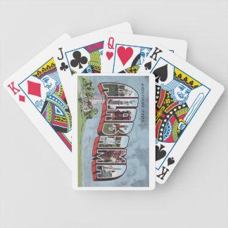Greetins del tema de la postal del vintage de baraja cartas de poker