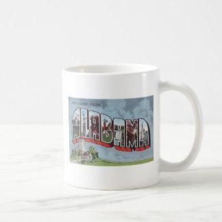 Greetins del tema de la postal del vintage de taza clásica