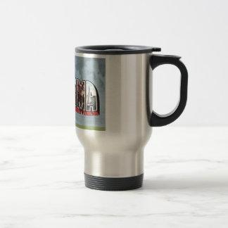 Greetins del tema de la postal del vintage de taza térmica
