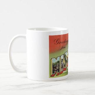 Greetins del tema grande del vintage de la letra taza