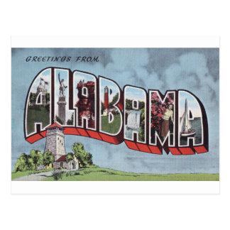 Greetins from Alabama vintage postcard theme