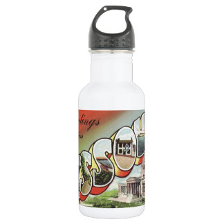 Greetins from Missouri Large Letter vintage theme 18oz Water Bottle
