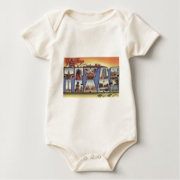 Greetins from Texas Large Letter vintage theme Baby Bodysuit