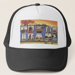 Greetins from Texas Large Letter vintage theme Trucker Hat 02fa0b4999e8