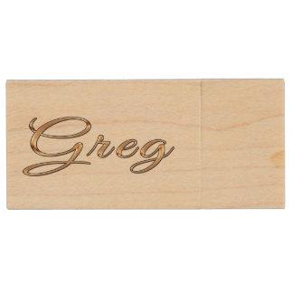 GREG Name Branded Gift for Men Wood USB 2.0 Flash Drive