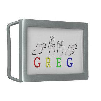 GREG NAME FINGERSPELLED ASL HAND SIGN BELT BUCKLE