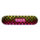 Greg pink fire Skatersollie skateboard.