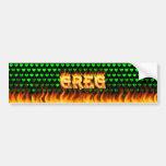 Greg real fire and flames bumper sticker design. car bumper sticker