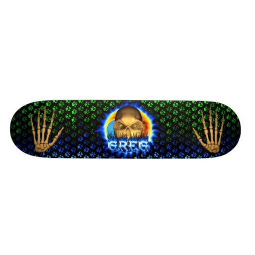 Greg skull blue fire and flames skateboard design.