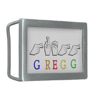 GREGG NAME FINGERSPELLED ASL HAND SIGN RECTANGULAR BELT BUCKLES