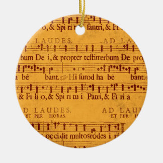 Gregorian chant music score Double-Sided ceramic round christmas ornament