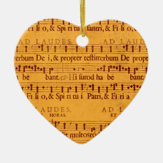 Gregorian chant music score Double-Sided heart ceramic christmas ornament