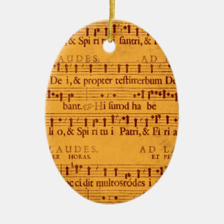 Gregorian chant music score Double-Sided oval ceramic christmas ornament