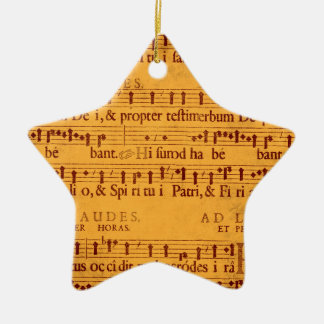 Gregorian chant music score Double-Sided star ceramic christmas ornament