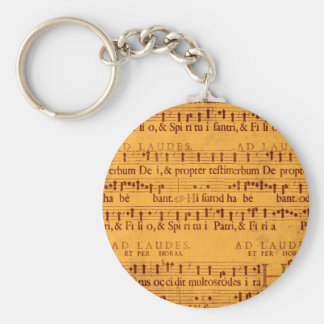 Gregorian chant music score keychain