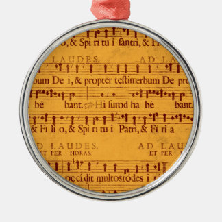 Gregorian chant music score round metal christmas ornament