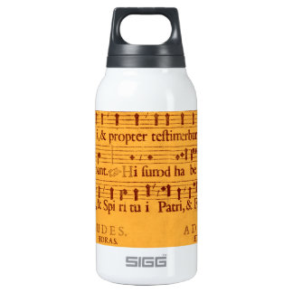 Gregorian chant music score 10 oz insulated SIGG thermos water bottle