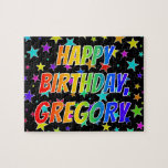 "[ Thumbnail: ""Gregory"" First Name, Fun ""Happy Birthday"" Jigsaw Puzzle ]"