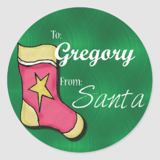 Gregory Personalized Christmas Label54 Classic Round Sticker