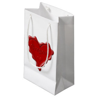 Gregory. Red heart wax seal with name Gregory Small Gift Bag